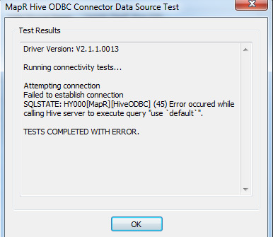 How to resolve odbc connection issue while connecting to Hive?